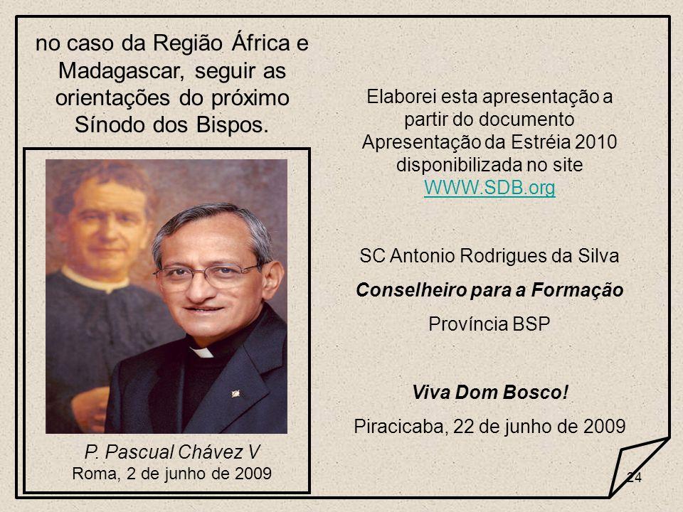 24 no caso da Região África e Madagascar, seguir as orientações do próximo Sínodo dos Bispos. P. Pascual Chávez V Roma, 2 de junho de 2009 Elaborei es