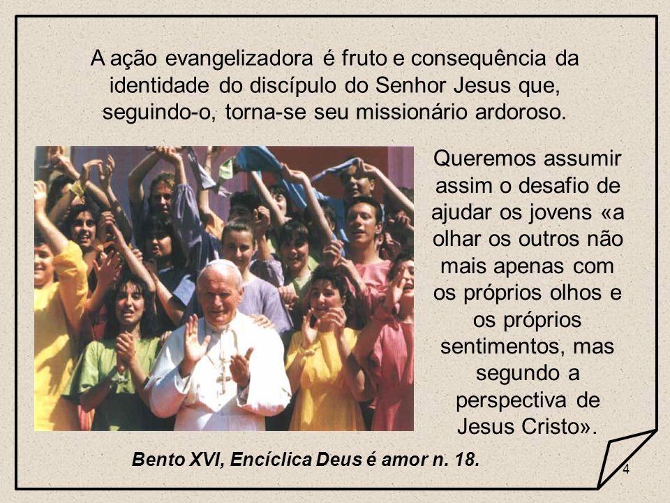 4 A ação evangelizadora é fruto e consequência da identidade do discípulo do Senhor Jesus que, seguindo-o, torna-se seu missionário ardoroso. Queremos