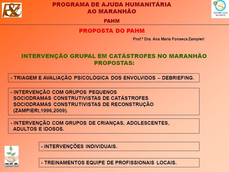 PROGRAMA DE AJUDA HUMANITÁRIA AO MARANHÃO PAHM PROPOSTA DO PAHM INTERVENÇÃO GRUPAL EM CATÁSTROFES NO MARANHÃO PROPOSTAS: Prof.ª Dra.