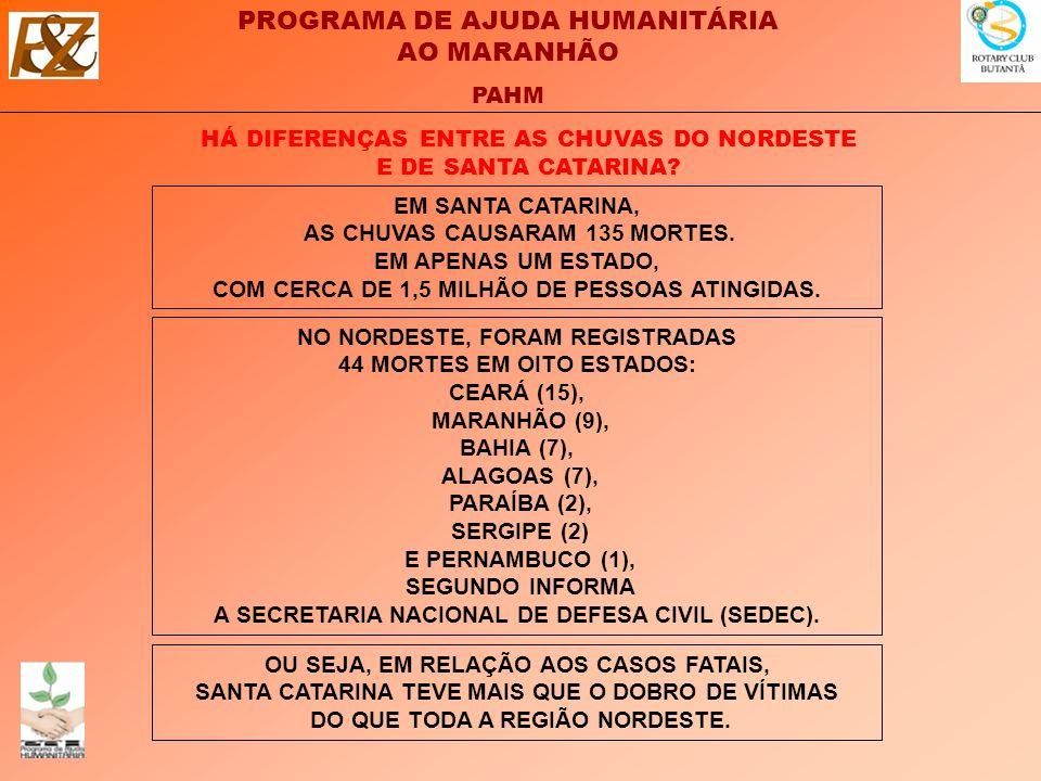 PROGRAMA DE AJUDA HUMANITÁRIA AO MARANHÃO PAHM HÁ DIFERENÇAS ENTRE AS CHUVAS DO NORDESTE E DE SANTA CATARINA.