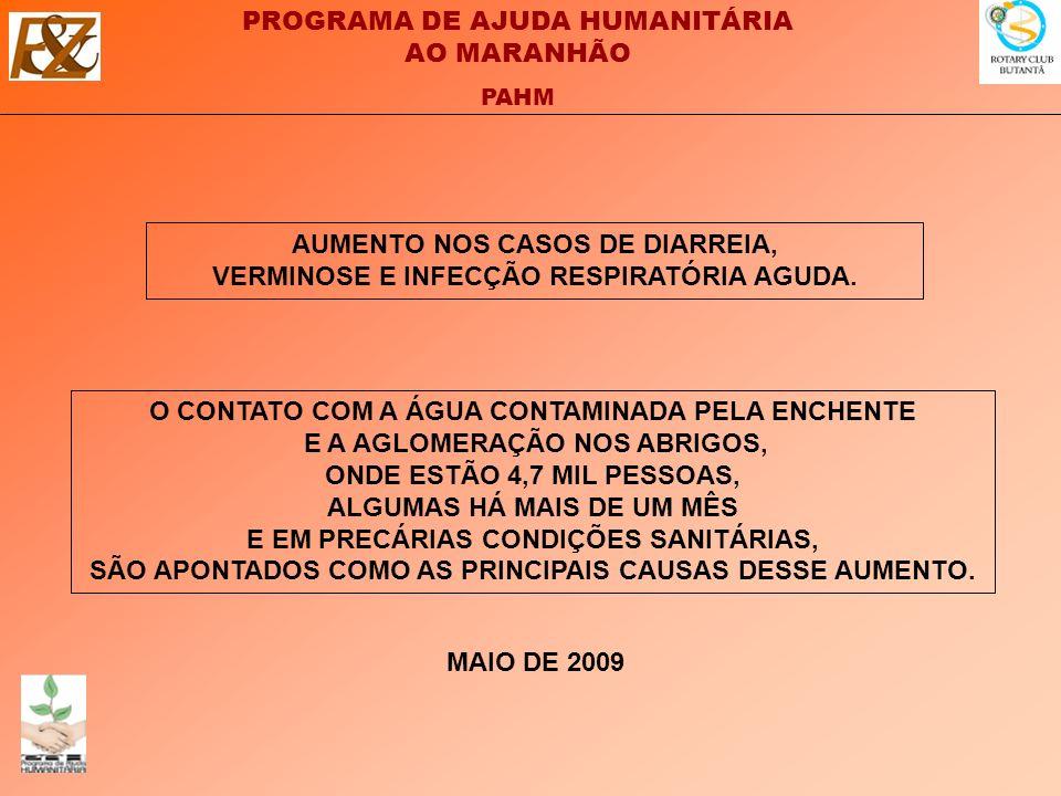 PROGRAMA DE AJUDA HUMANITÁRIA AO MARANHÃO PAHM AUMENTO NOS CASOS DE DIARREIA, VERMINOSE E INFECÇÃO RESPIRATÓRIA AGUDA.