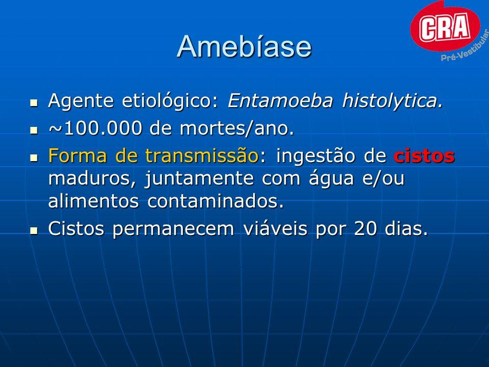 Amebíase Agente Agente etiológico: Entamoeba histolytica. ~100.000 ~100.000 de mortes/ano. Forma Forma de transmissão: transmissão: ingestão de cistos