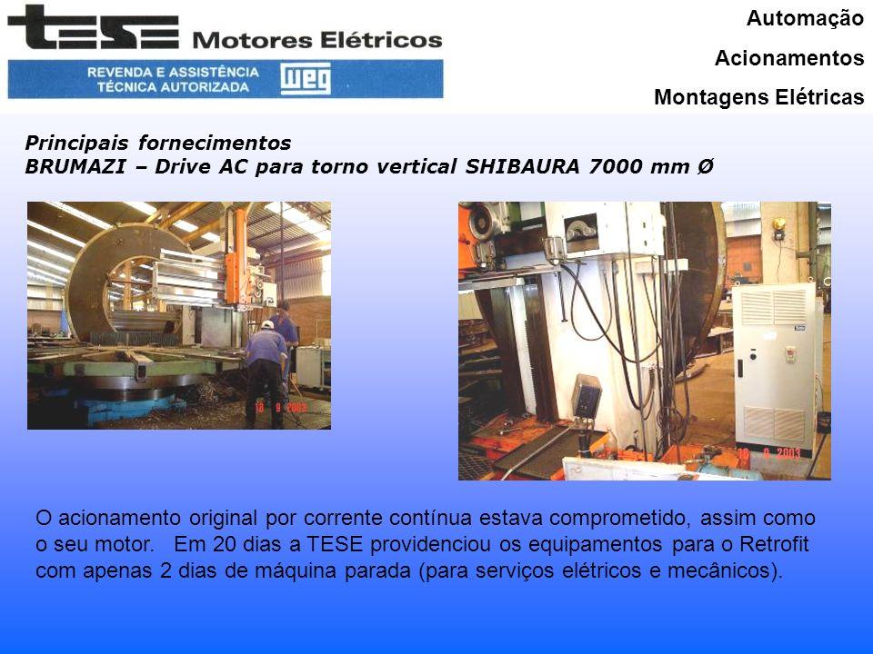 Automação Acionamentos Montagens Elétricas Principais fornecimentos BRUMAZI – Drive AC para torno vertical SHIBAURA 7000 mm Ø O acionamento original por corrente contínua estava comprometido, assim como o seu motor.