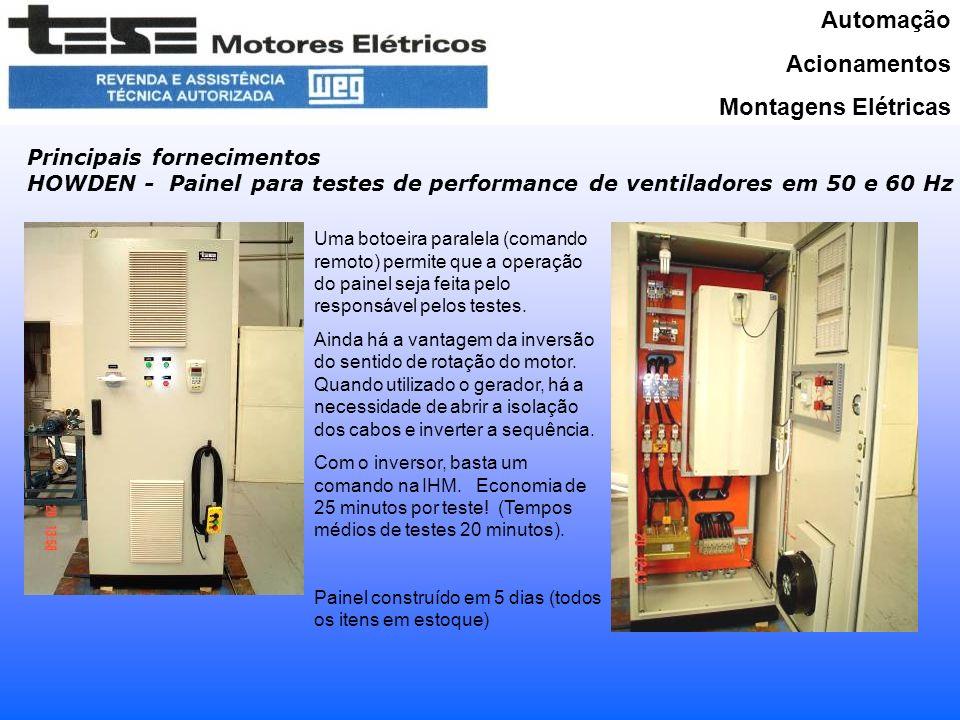 Automação Acionamentos Montagens Elétricas Principais fornecimentos HOWDEN - Painel para testes de performance de ventiladores em 50 e 60 Hz Uma botoeira paralela (comando remoto) permite que a operação do painel seja feita pelo responsável pelos testes.
