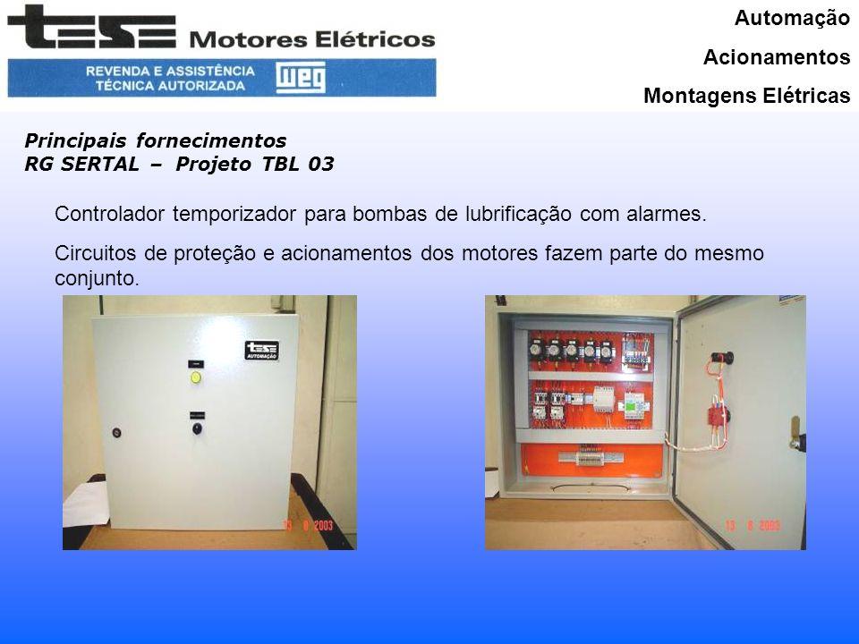 Automação Acionamentos Montagens Elétricas Principais fornecimentos RG SERTAL – Projeto TBL 03 Controlador temporizador para bombas de lubrificação com alarmes.