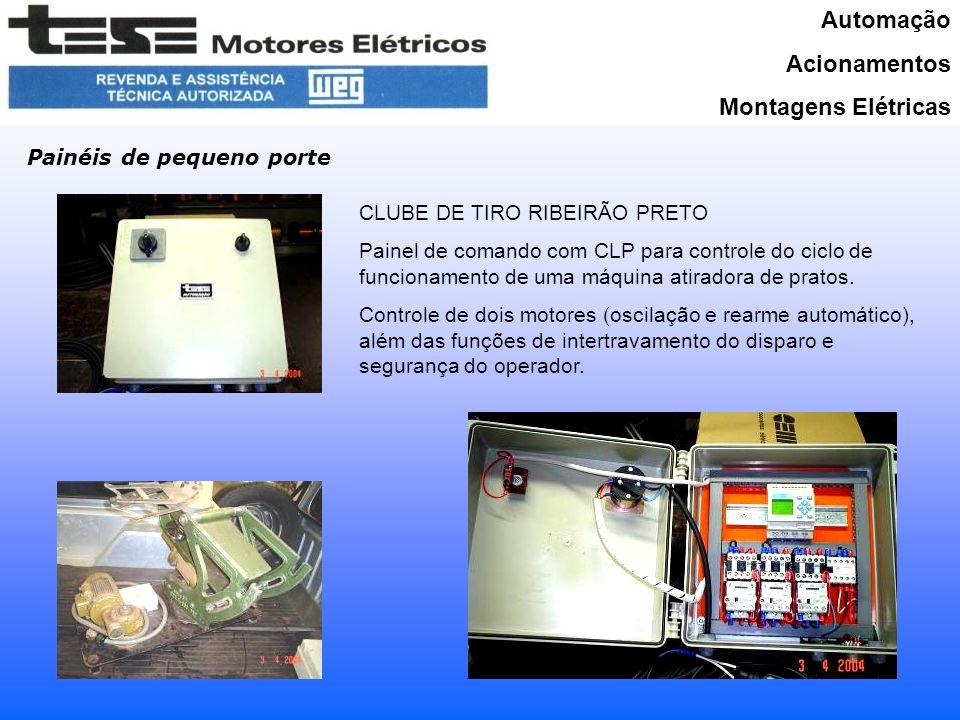 Automação Acionamentos Montagens Elétricas Painéis de pequeno porte CLUBE DE TIRO RIBEIRÃO PRETO Painel de comando com CLP para controle do ciclo de funcionamento de uma máquina atiradora de pratos.