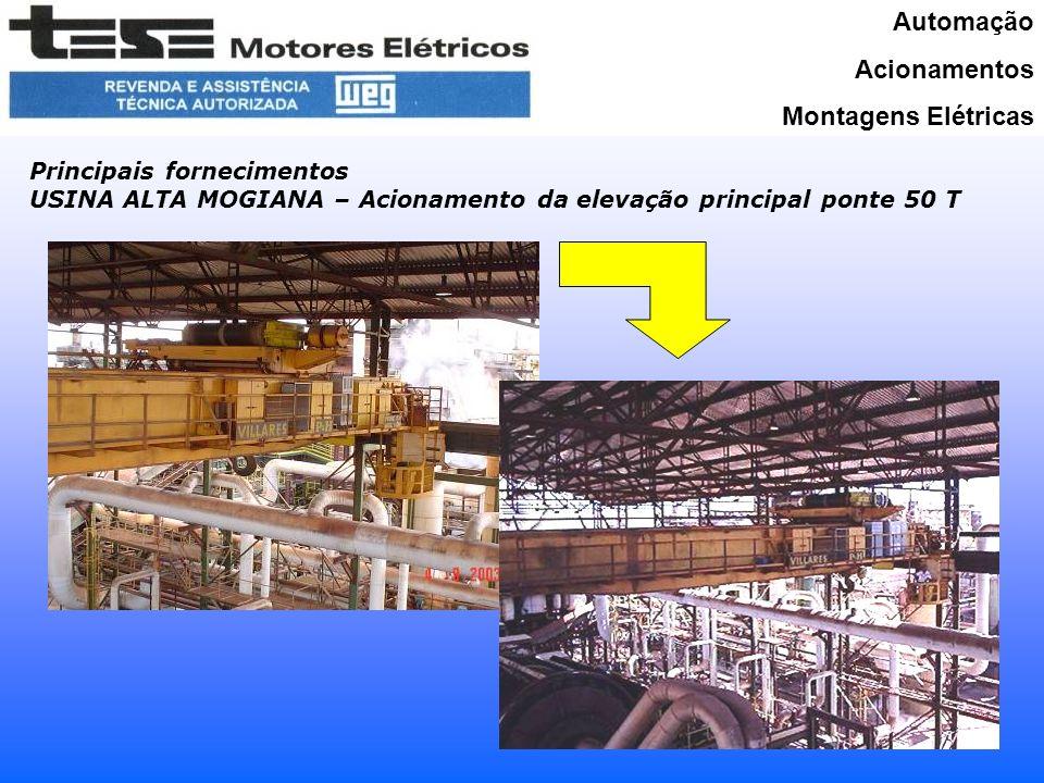 Automação Acionamentos Montagens Elétricas Principais fornecimentos USINA ALTA MOGIANA – Acionamento da elevação principal ponte 50 T Substituição do Freio Substituição do Motor (maior potência, mesma carcaça)