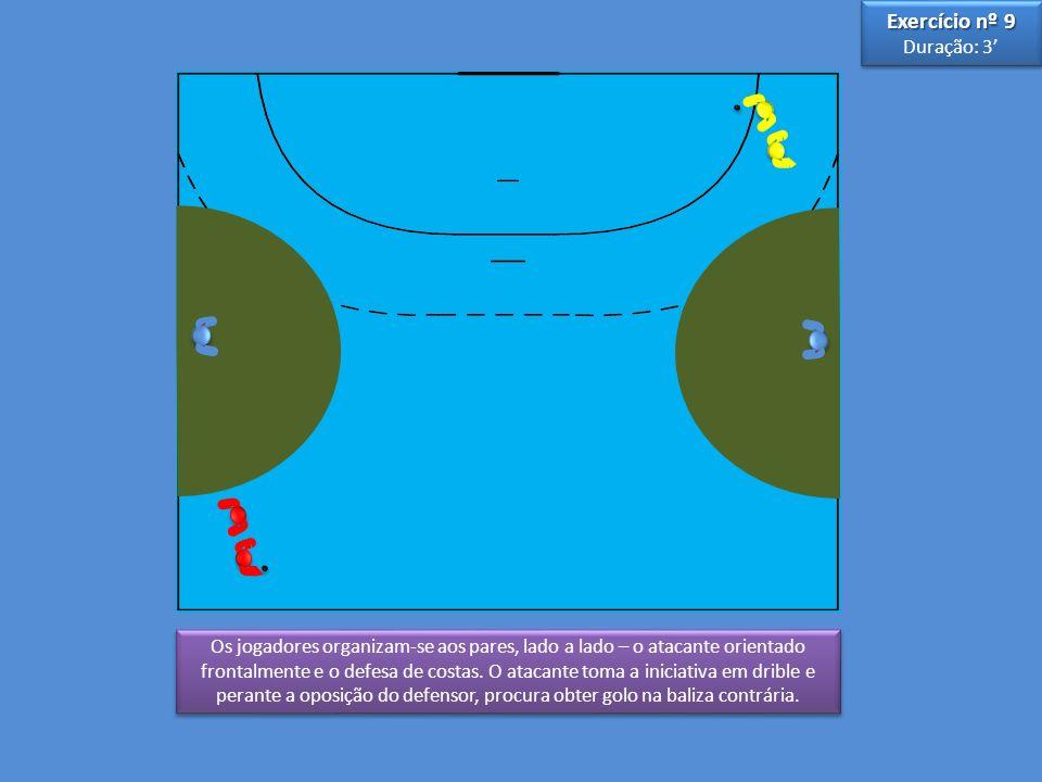 3 3 5 5 Os jogadores organizam-se aos pares, lado a lado – o atacante orientado frontalmente e o defesa de costas.