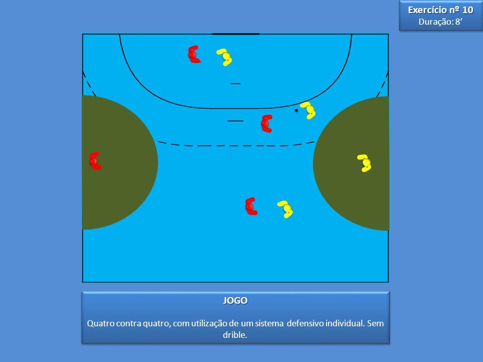 3 3 5 5 JOGO Quatro contra quatro, com utilização de um sistema defensivo individual.