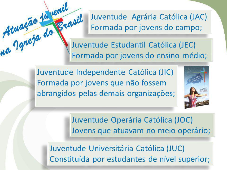 Atuação juvenil na Igreja do Brasil Juventude Agrária Católica (JAC) Formada por jovens do campo; Juventude Agrária Católica (JAC) Formada por jovens