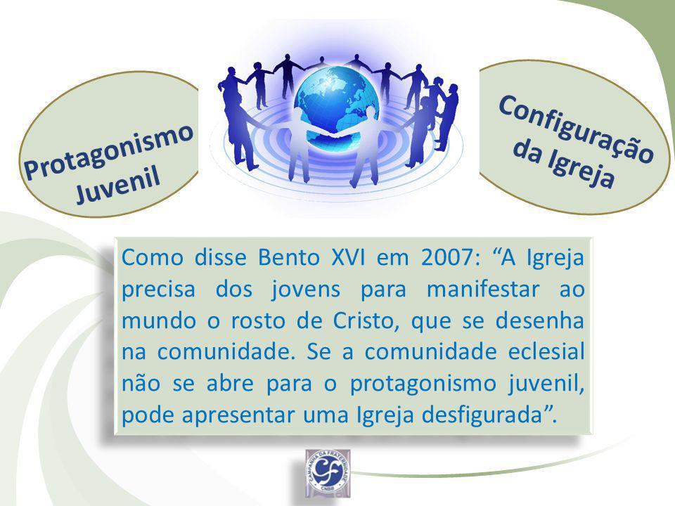 Como disse Bento XVI em 2007: A Igreja precisa dos jovens para manifestar ao mundo o rosto de Cristo, que se desenha na comunidade. Se a comunidade ec