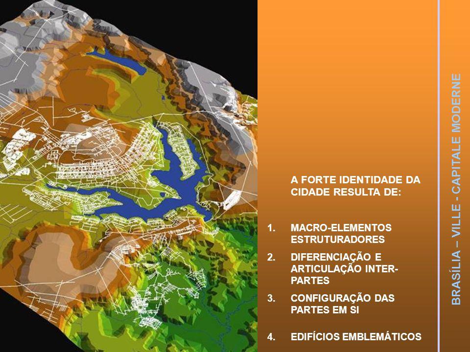 BRASÍLIA – VILLE - CAPITALE MODERNE A FORTE IDENTIDADE DA CIDADE RESULTA DE: 1.MACRO-ELEMENTOS ESTRUTURADORES 2.DIFERENCIAÇÃO E ARTICULAÇÃO INTER- PAR