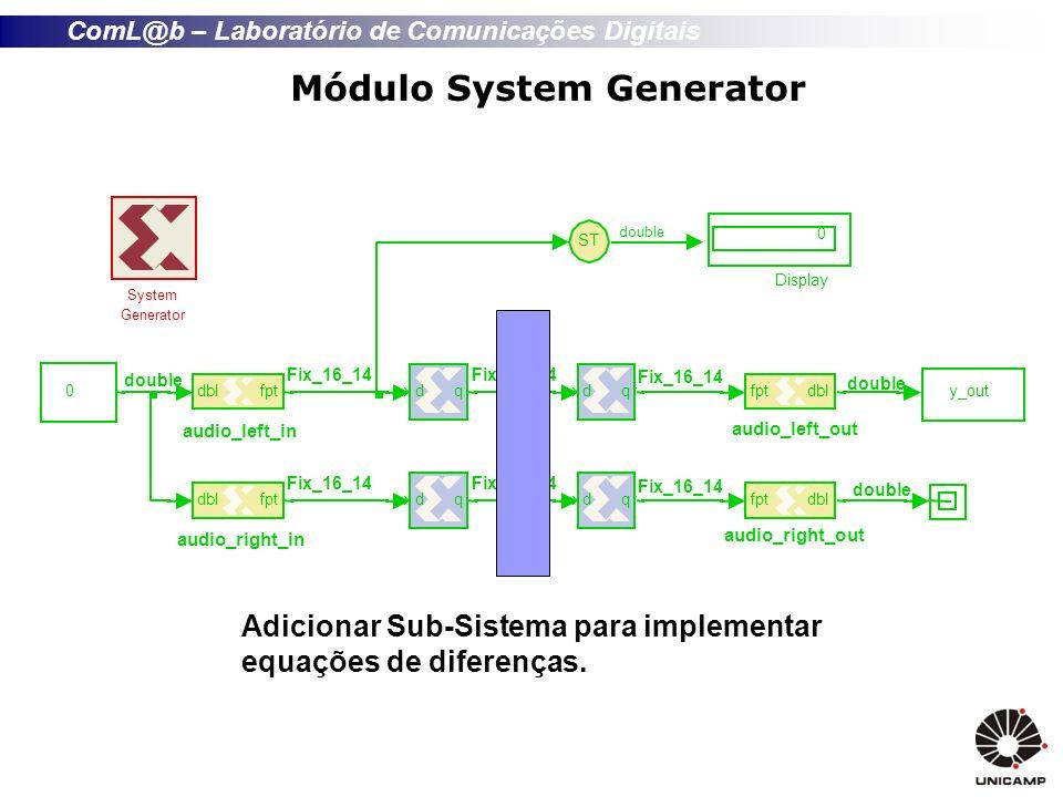 ComL@b – Laboratório de Comunicações Digitais Módulo System Generator Adicionar Sub-Sistema para implementar equações de diferenças.