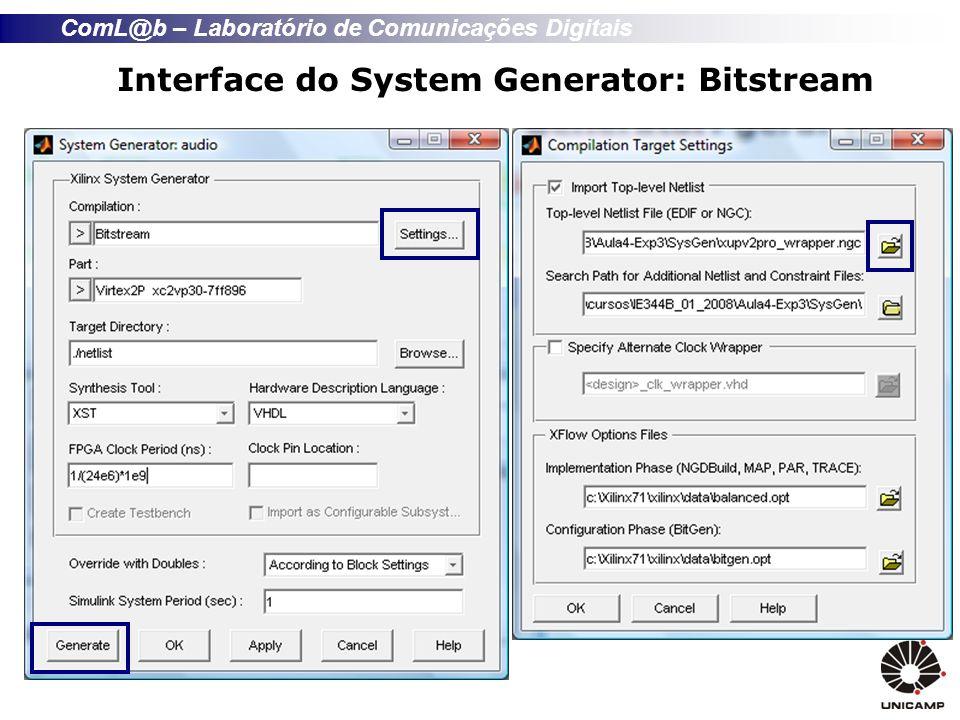 ComL@b – Laboratório de Comunicações Digitais Interface do System Generator: Bitstream
