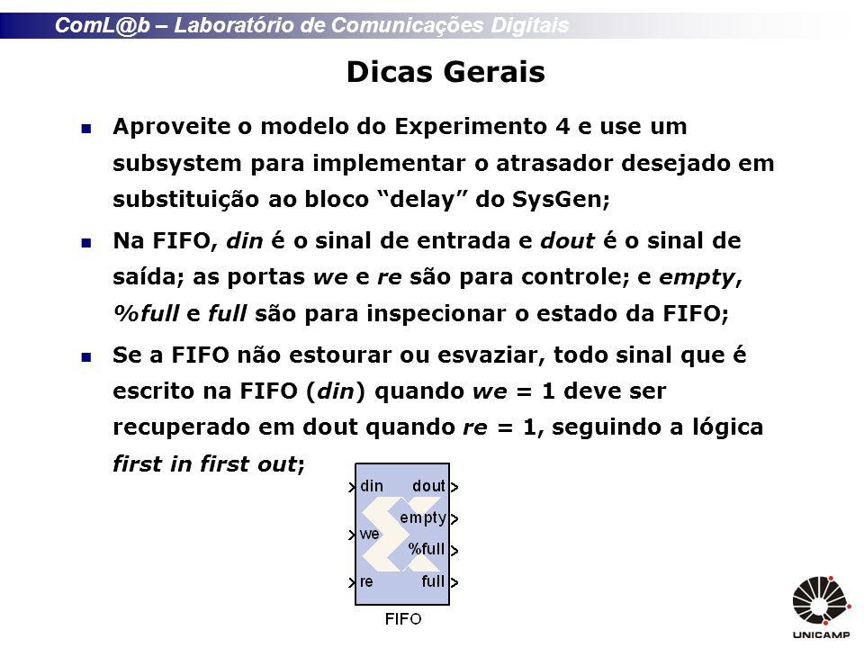 ComL@b – Laboratório de Comunicações Digitais Dicas Gerais Aproveite o modelo do Experimento 4 e use um subsystem para implementar o atrasador desejado em substituição ao bloco delay do SysGen; Na FIFO, din é o sinal de entrada e dout é o sinal de saída; as portas we e re são para controle; e empty, %full e full são para inspecionar o estado da FIFO; Se a FIFO não estourar ou esvaziar, todo sinal que é escrito na FIFO (din) quando we = 1 deve ser recuperado em dout quando re = 1, seguindo a lógica first in first out;