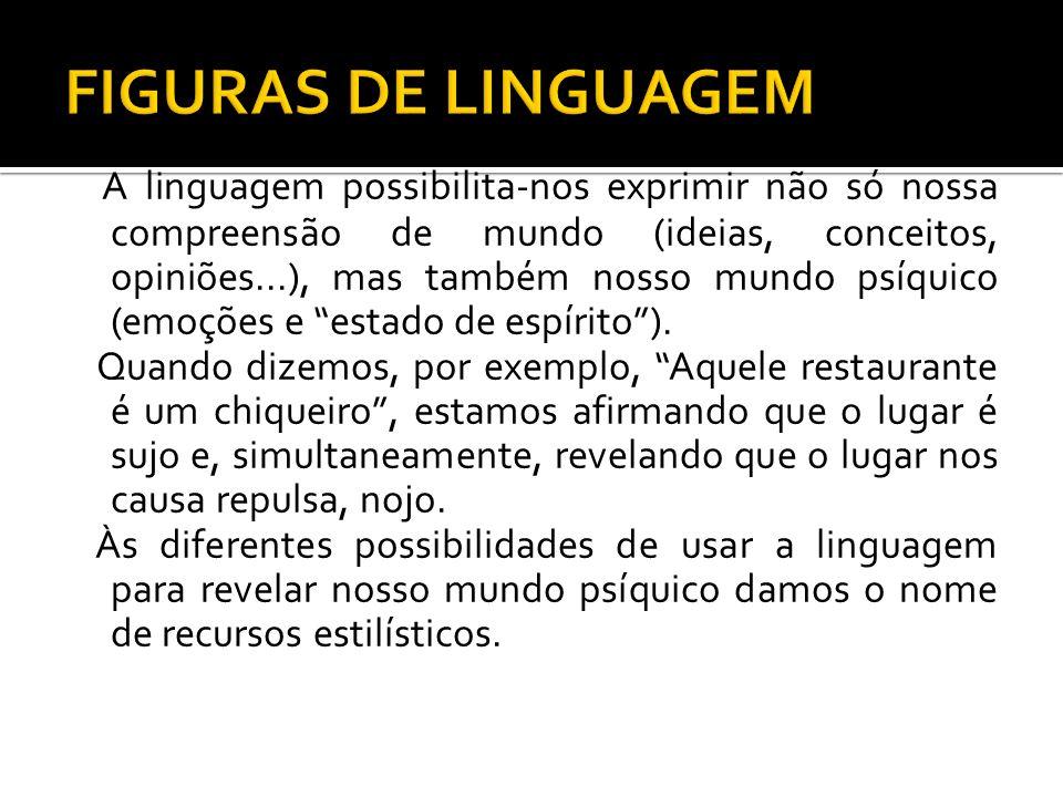 A linguagem possibilita-nos exprimir não só nossa compreensão de mundo (ideias, conceitos, opiniões...), mas também nosso mundo psíquico (emoções e es