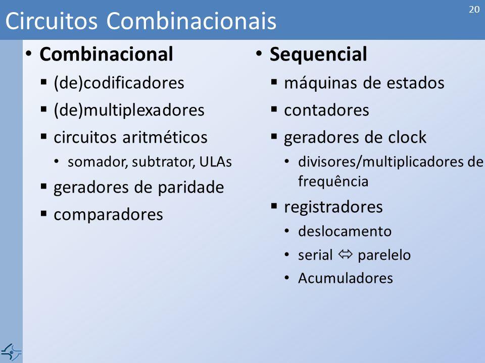 Combinacional (de)codificadores (de)multiplexadores circuitos aritméticos somador, subtrator, ULAs geradores de paridade comparadores Sequencial máqui