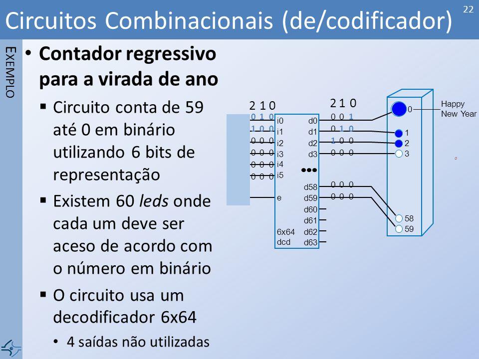 Contador regressivo para a virada de ano Circuito conta de 59 até 0 em binário utilizando 6 bits de representação Existem 60 leds onde cada um deve se