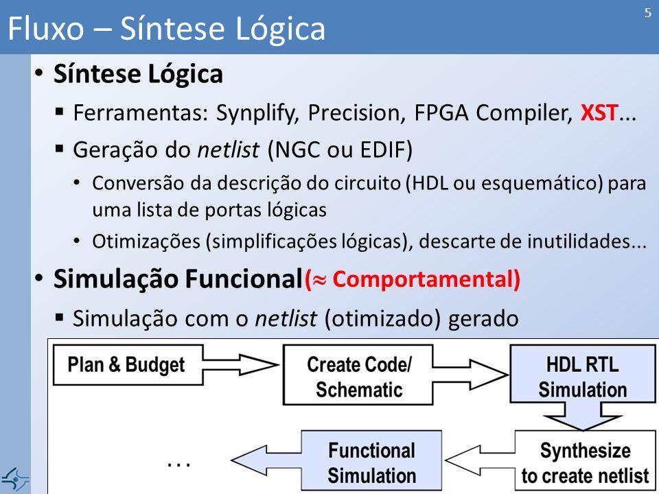 Síntese Lógica Ferramentas: Synplify, Precision, FPGA Compiler, XST... Geração do netlist (NGC ou EDIF) Conversão da descrição do circuito (HDL ou esq