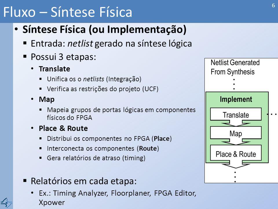 Síntese Física (ou Implementação) Entrada: netlist gerado na síntese lógica Possui 3 etapas: Translate Unifica os o netlists (Integração) Verifica as