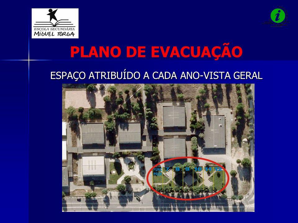 ESPAÇO ATRIBUÍDO A CADA ANO-VISTA GERAL ESPAÇO ATRIBUÍDO A CADA ANO-VISTA GERAL PLANO DE EVACUAÇÃO