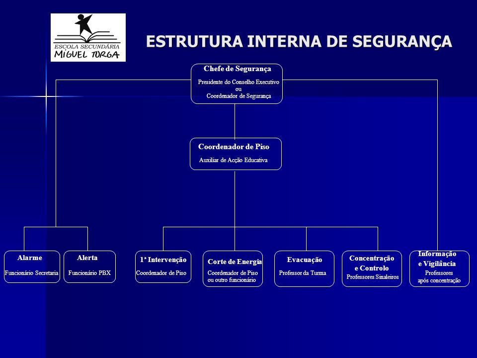 ESTRUTURA INTERNA DE SEGURANÇA Chefe de Segurança Presidente do Conselho Executivo ou Coordenador de Segurança Coordenador de Piso Auxiliar de Acção E
