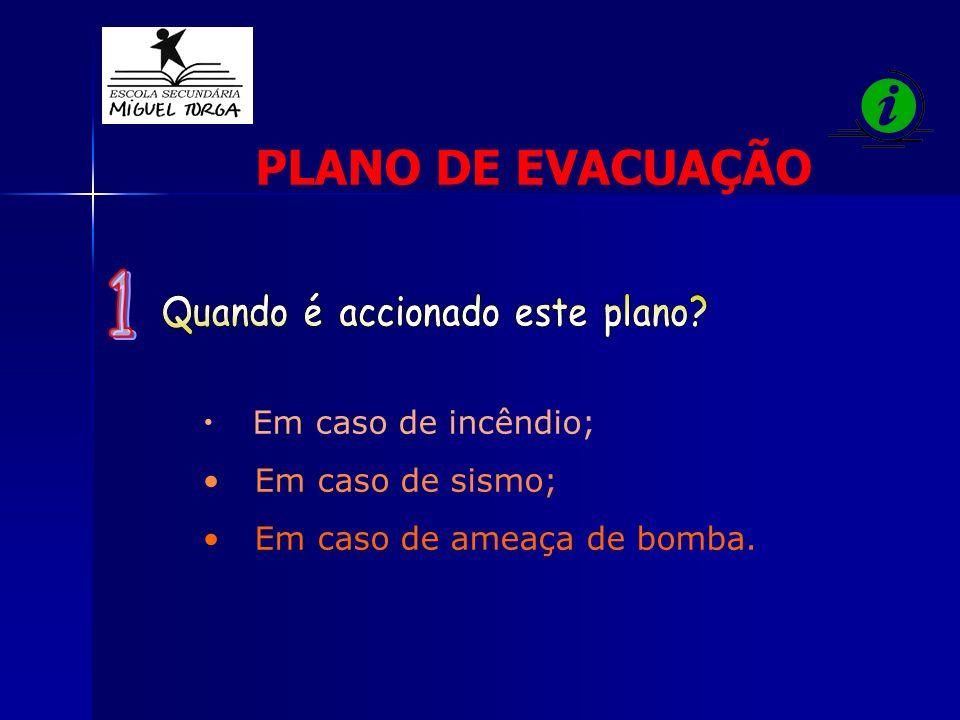 Em caso de incêndio; Em caso de sismo; Em caso de ameaça de bomba. PLANO DE EVACUAÇÃO