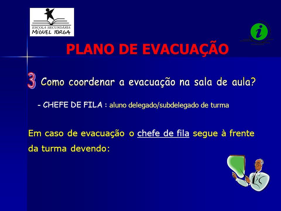 Em caso de evacuação o chefe de fila segue à frente da turma devendo: - CHEFE DE FILA : aluno delegado/subdelegado de turma PLANO DE EVACUAÇÃO