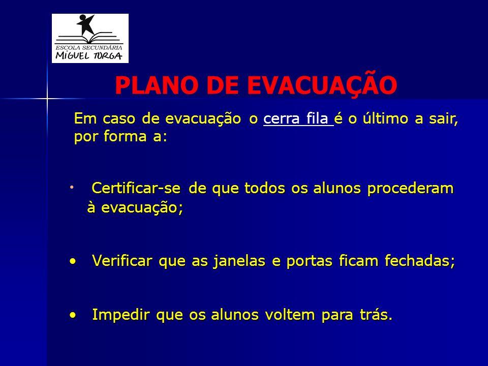 Certificar-se de que todos os alunos procederam à evacuação; Certificar-se de que todos os alunos procederam à evacuação; Verificar que as janelas e p