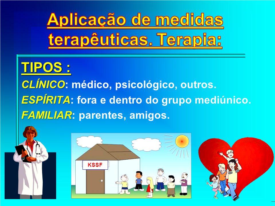 TIPOS : CLÍNICO CLÍNICO: médico, psicológico, outros. ESPÍRITA ESPÍRITA: fora e dentro do grupo mediúnico. FAMILIAR FAMILIAR: parentes, amigos. KSSF