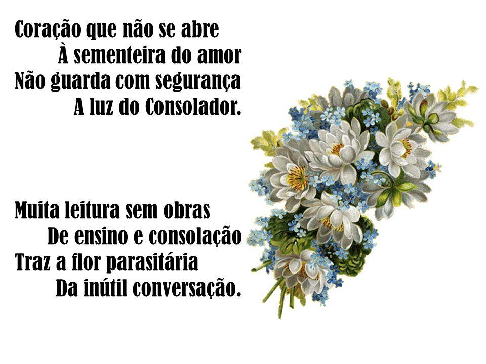 Coração que não se abre À sementeira do amor Não guarda com segurança A luz do Consolador. Muita leitura sem obras De ensino e consolação Traz a flor