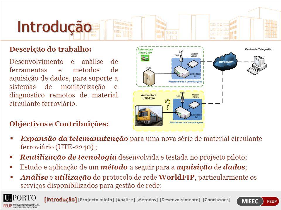 Métodos para a aquisição de dados Como solução para o desenvolvimento de uma aplicação, integrada na plataforma de comunicações, foram encontrados os seguintes métodos: Integrar a plataforma de comunicações, como um equipamento pertencente à rede FIP-TIS ou FIP-TCS; Explorar os MPTCS e MPTIS, nomeadamente o software LISA, por forma a saber se é possível a obtenção das variáveis do processo pela interface RS232 do equipamentos MPTCS ou MPTIS; Ligar a plataforma de comunicações numa rede sem fios.