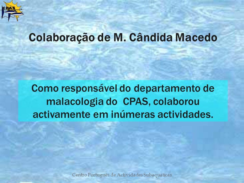 Centro Português de Actividades Subaquáticas Colaboração de M. Cândida Macedo Como responsável do departamento de malacologia do CPAS, colaborou activ