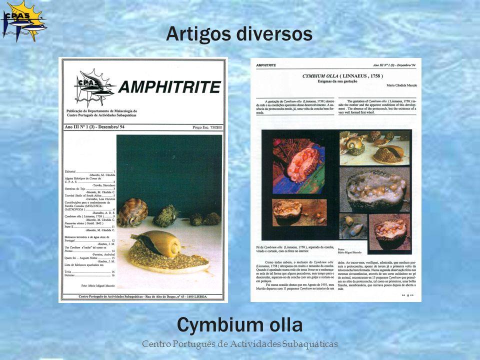 Centro Português de Actividades Subaquáticas Artigos diversos Cymbium olla