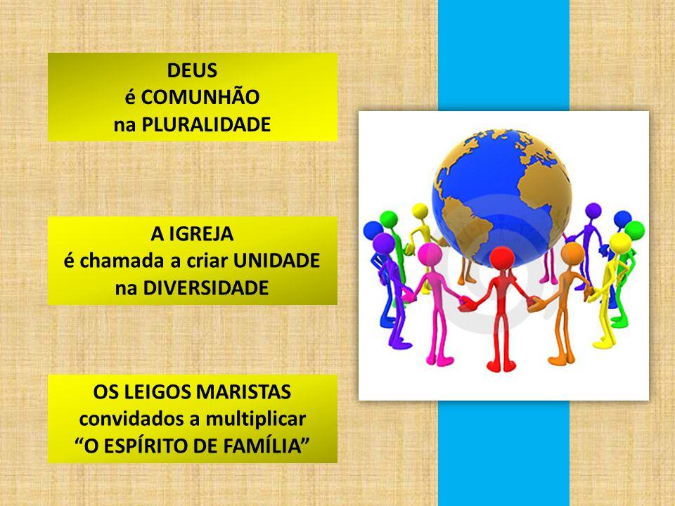 DEUS é COMUNHÃO na PLURALIDADE A IGREJA é chamada a criar UNIDADE na DIVERSIDADE OS LEIGOS MARISTAS convidados a multiplicar O ESPÍRITO DE FAMÍLIA