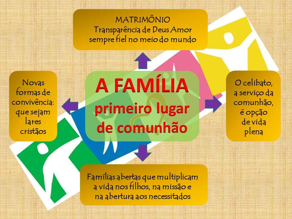 MATRIMÔNIO Transparência de Deus Amor sempre fiel no meio do mundo Famílias abertas que multiplicam a vida nos filhos, na missão e na abertura aos nec