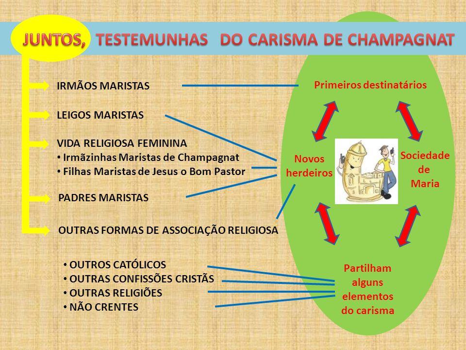 IRMÃOS MARISTAS LEIGOS MARISTAS VIDA RELIGIOSA FEMININA Irmãzinhas Maristas de Champagnat Filhas Maristas de Jesus o Bom Pastor PADRES MARISTAS OUTRAS