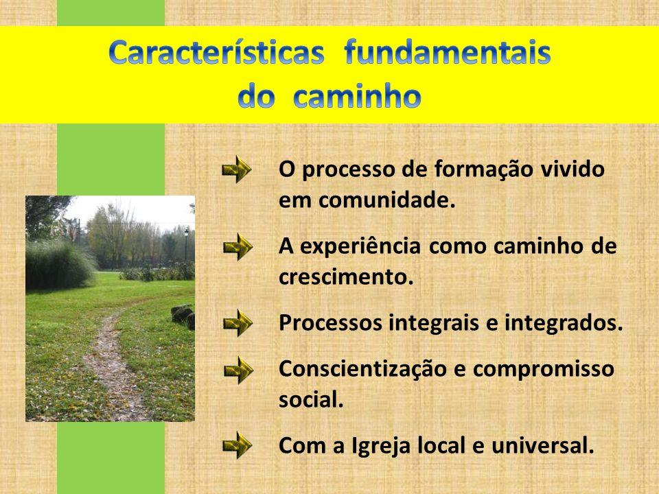 O processo de formação vivido em comunidade. A experiência como caminho de crescimento. Processos integrais e integrados. Conscientização e compromiss
