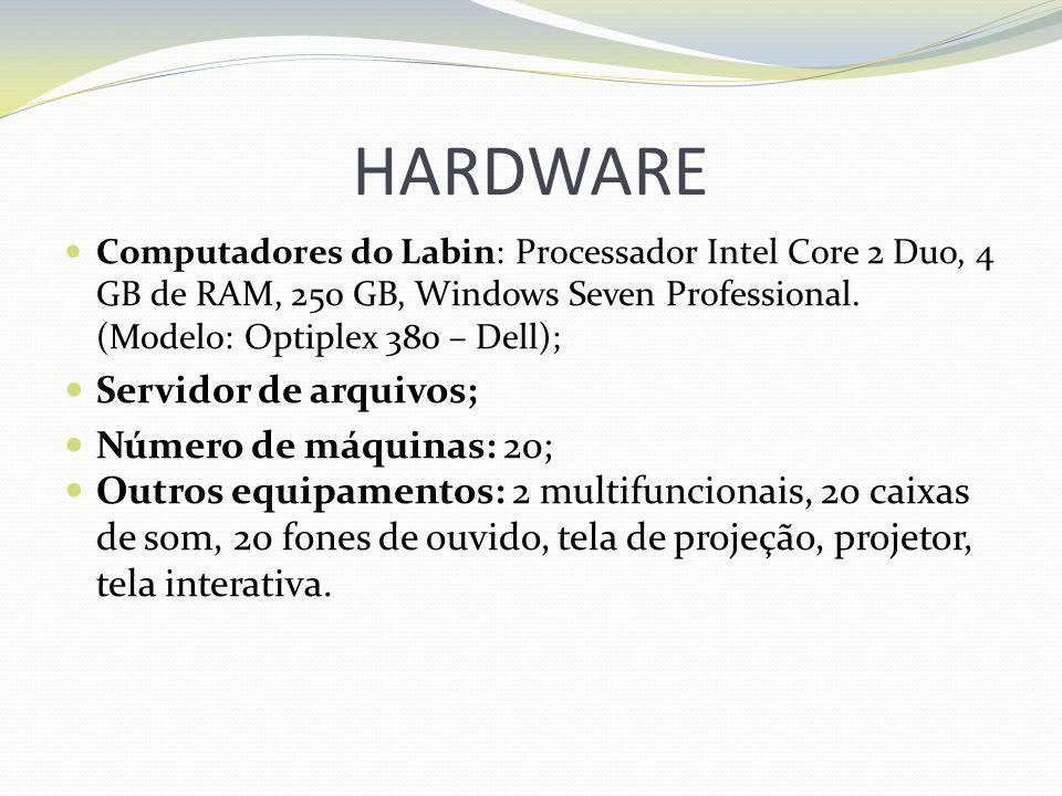 HARDWARE Computadores do Labin: Processador Intel Core 2 Duo, 4 GB de RAM, 250 GB, Windows Seven Professional. (Modelo: Optiplex 380 – Dell); Servidor