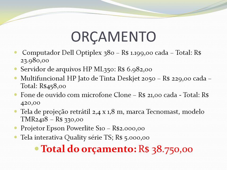 ORÇAMENTO Computador Dell Optiplex 380 – R$ 1.199,00 cada – Total: R$ 23.980,00 Servidor de arquivos HP ML350: R$ 6.982,00 Multifuncional HP Jato de T