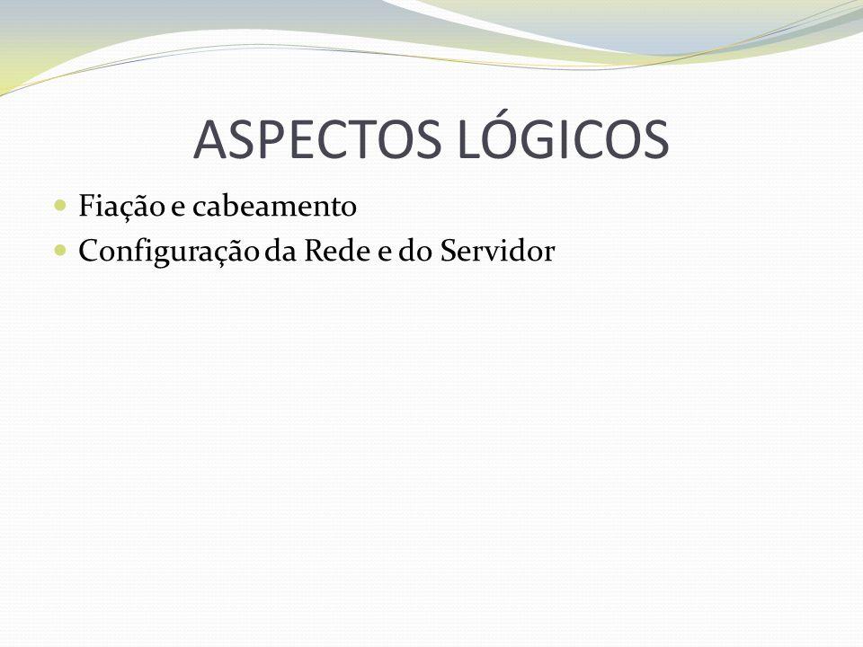 ASPECTOS LÓGICOS Fiação e cabeamento Configuração da Rede e do Servidor
