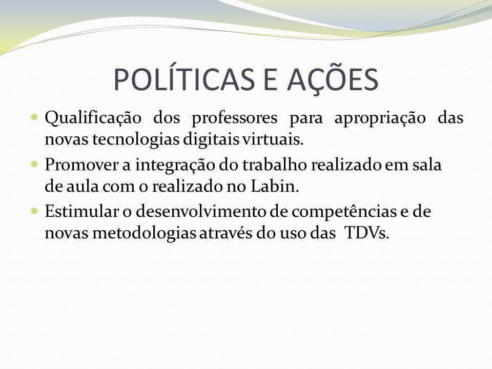 POLÍTICAS E AÇÕES Qualificação dos professores para apropriação das novas tecnologias digitais virtuais. Promover a integração do trabalho realizado e