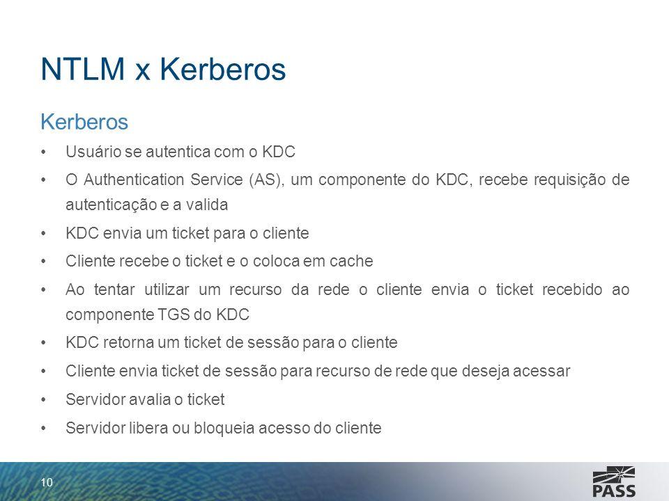 NTLM x Kerberos Kerberos Usuário se autentica com o KDC O Authentication Service (AS), um componente do KDC, recebe requisição de autenticação e a val