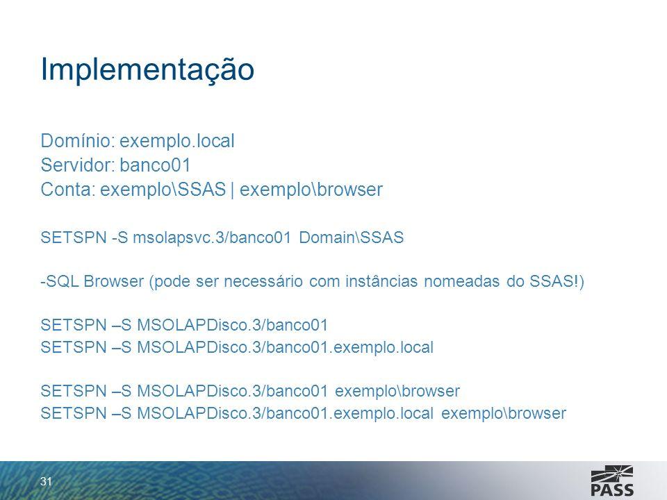 Implementação Domínio: exemplo.local Servidor: banco01 Conta: exemplo\SSAS   exemplo\browser SETSPN -S msolapsvc.3/banco01 Domain\SSAS -SQL Browser (p