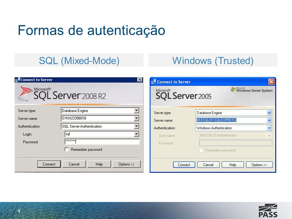 Formas de autenticação 4 SQL (Mixed-Mode)Windows (Trusted)