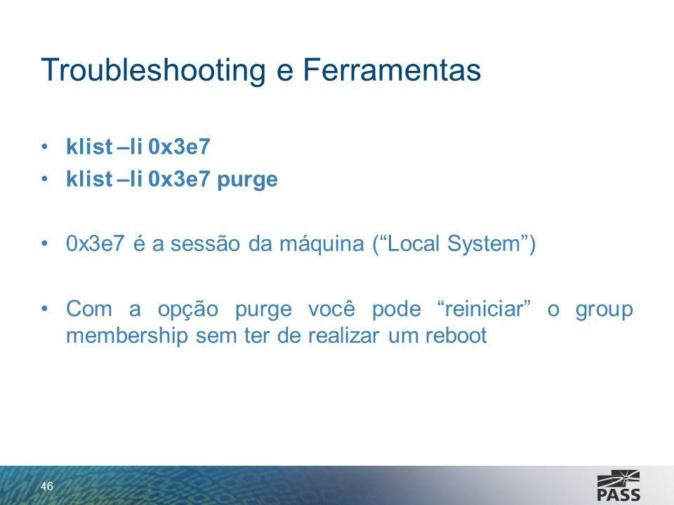 Troubleshooting e Ferramentas klist –li 0x3e7 klist –li 0x3e7 purge 0x3e7 é a sessão da máquina (Local System) Com a opção purge você pode reiniciar o