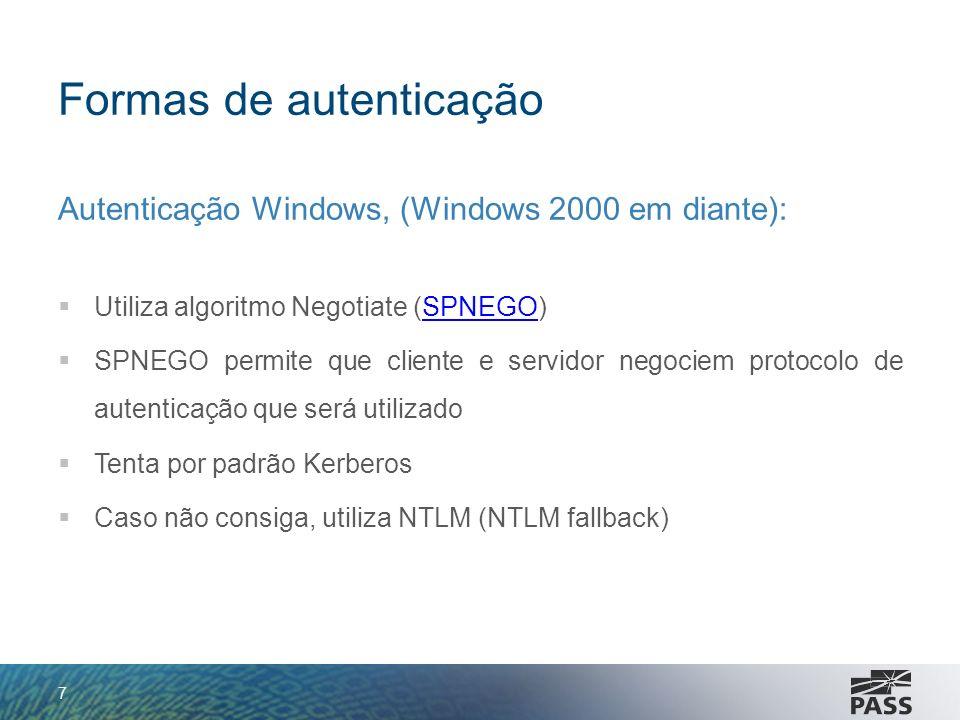 Formas de autenticação Autenticação Windows, (Windows 2000 em diante): Utiliza algoritmo Negotiate (SPNEGO)SPNEGO SPNEGO permite que cliente e servido