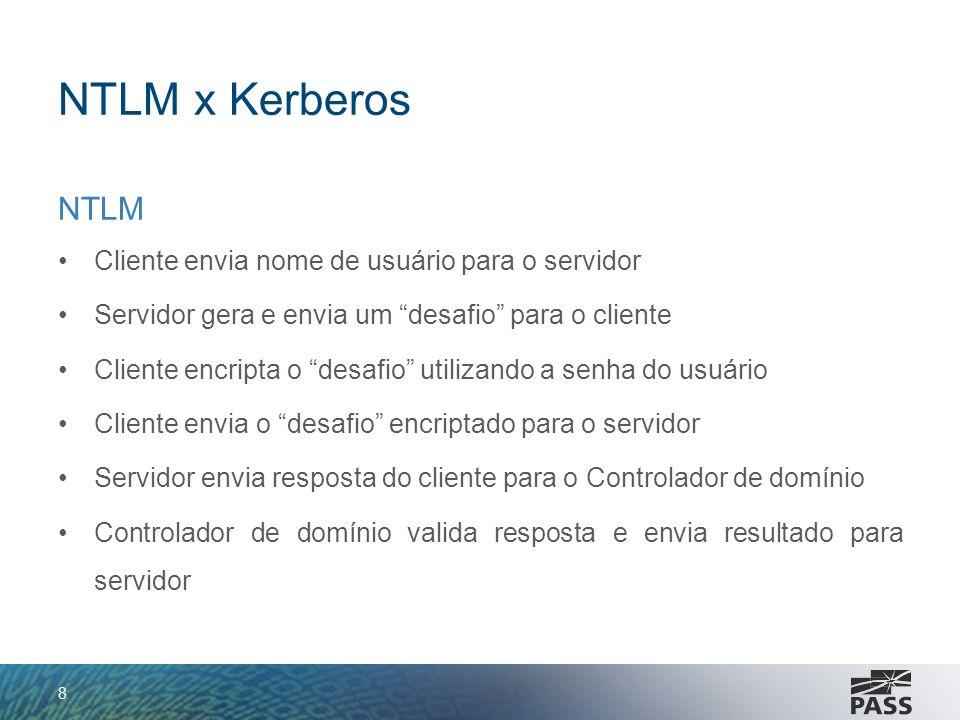 NTLM x Kerberos NTLM Cliente envia nome de usuário para o servidor Servidor gera e envia um desafio para o cliente Cliente encripta o desafio utilizan