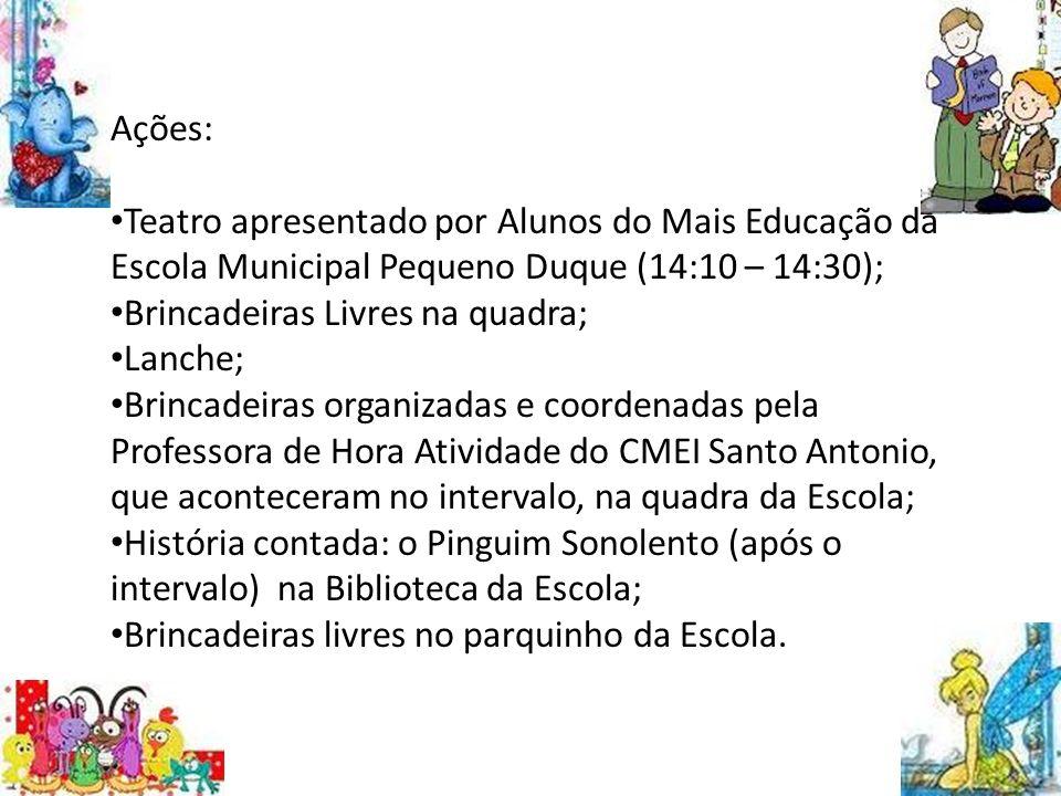 Objetivos: Esta intervenção pedagógica objetivou possibilitar momentos de interação entre as crianças da EI e do EF, utilizando a literatura infantil
