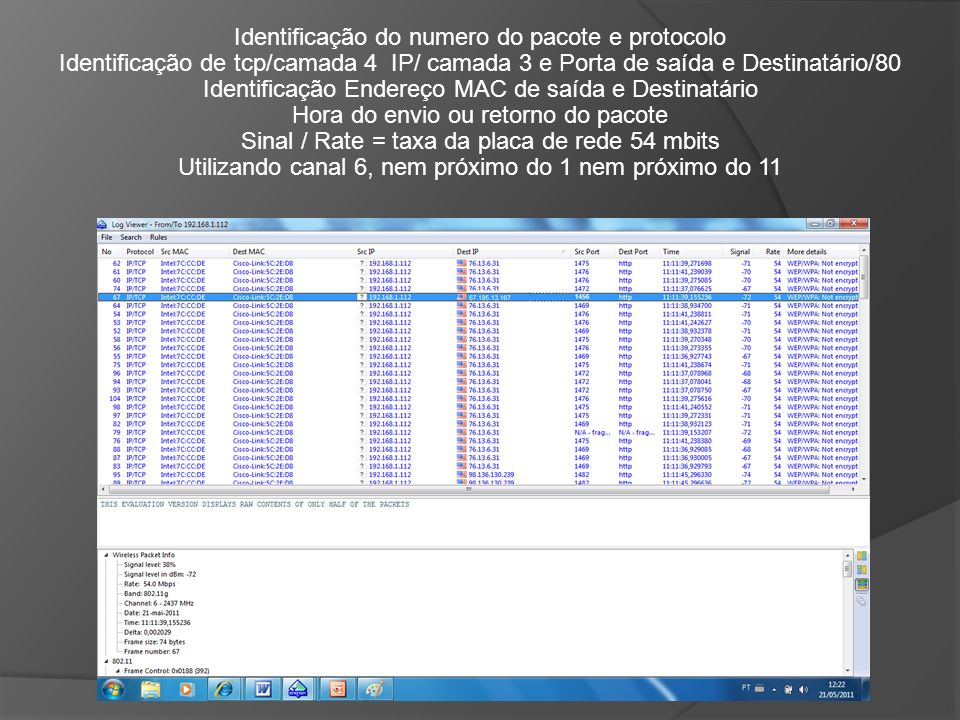 Identificação do numero do pacote e protocolo Identificação de tcp/camada 4 IP/ camada 3 e Porta de saída e Destinatário/80 Identificação Endereço MAC
